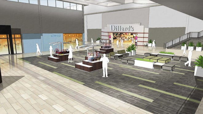 A rendering of the renovation underway at Asheville Mall.
