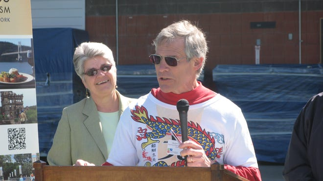 From left: Mary Kay Vrba, executive director of Dutchess County Tourism; Peter Van Aken, organizers of the Dutchess Dragon Boat Race & Festival.