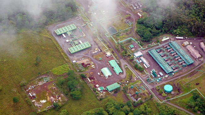 The Puna Geothermal Venture power plant sits in the jungle near the lava flows running through the Leilani Estates neighborhood. Area residents worried the geothermal plant would be damaged by the lava, setting ablaze the liquid used to transfer heat energy to the generators.