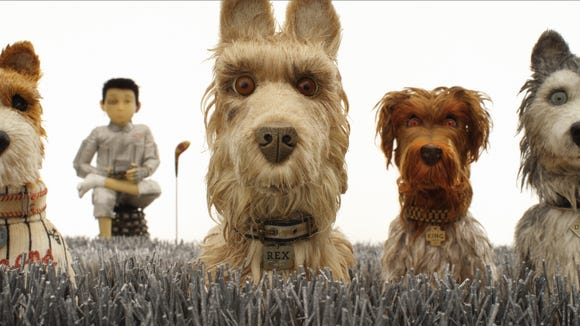 "Edward Norton as Rex, Jeff Goldblum as Duke, Bill Murray as Boss, Bob Balaban as King and Bryan Cranston as Chief in ""Isle of Dogs."""