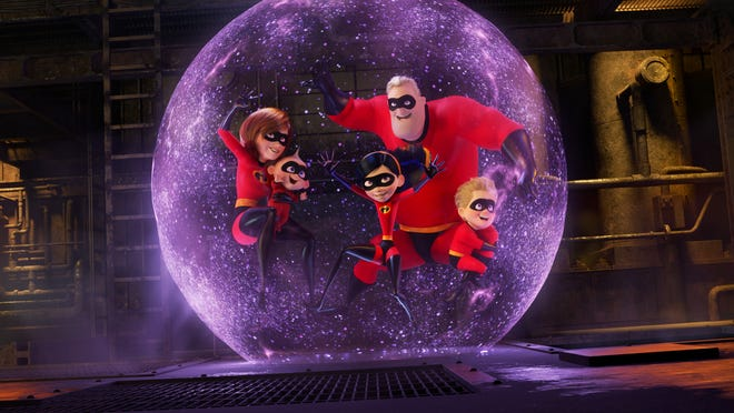 """PRACTICE MAKES PERFECT – In the midst of battling the Underminer villain, Violet protects her family by throwing one of her most super force fields yet. Featuring Sarah Vowell as the voice of Violet, Holly Hunter as the voice of Helen, Craig T. Nelson as the voice of Bob and Huck Milner as the voice of Dash, Disney•Pixar's """"Incredibles 2"""" busts into theaters on June 15, 2018. ©2018 Disney•Pixar. All Rights Reserved."""