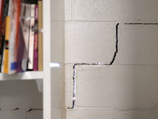 A crack in a classroom's wall at Valley View Middle
