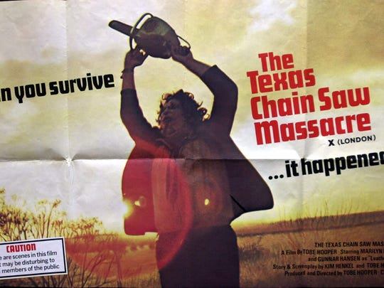 """The movie poster for the horror classic """"The Texas Chain Saw Massacre,"""" screening in a restored version this month through Montclair film."""