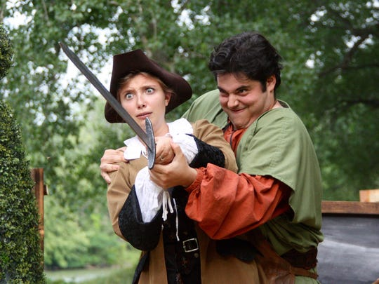 "Emily Loewus (Viola) and Michael Doliner (Fabian) starred in the Ithaca Shakespeare Company's production of ""Twelfth Night"" in 2016."