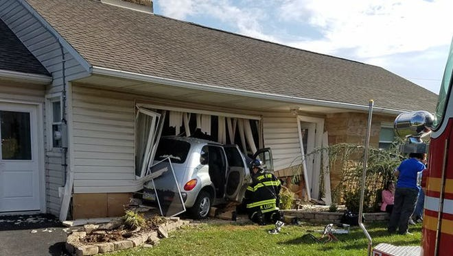 A car crashed into a home on Leader Heights Road, York Area Regional Police said.