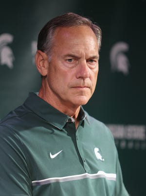 Michigan State head coach Mark Dantonio talks with reporters about the upcomming season Monday, Aug. 8, 2016, at Spartan Stadium in East Lansing.