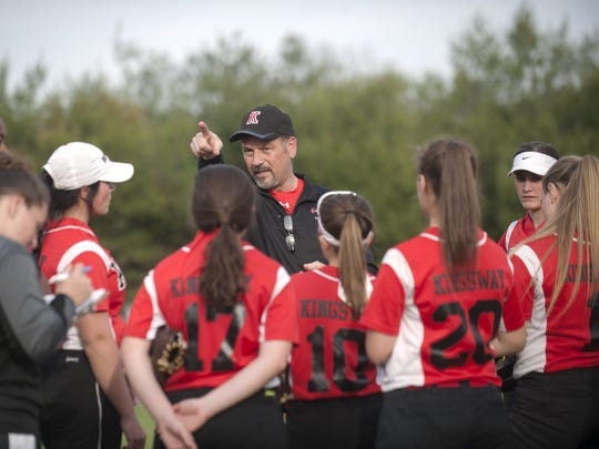 Kingsway softball coach Dave Dominik speaks to his players following Wednesdays game between Kingsway and GCIT played at Bankbridge Regional Middle School on April 5.