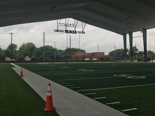 The new covered practice field.
