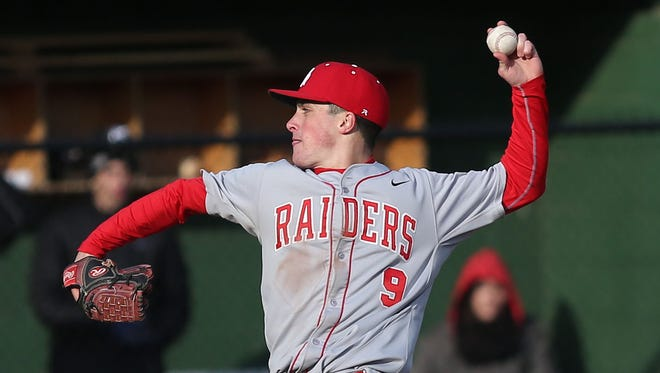 North Rockland's Chris Dodrill (9) pitching against Mamaroneck at Mamaroneck High School April 6, 2016. North Rockland won the game 4-1.