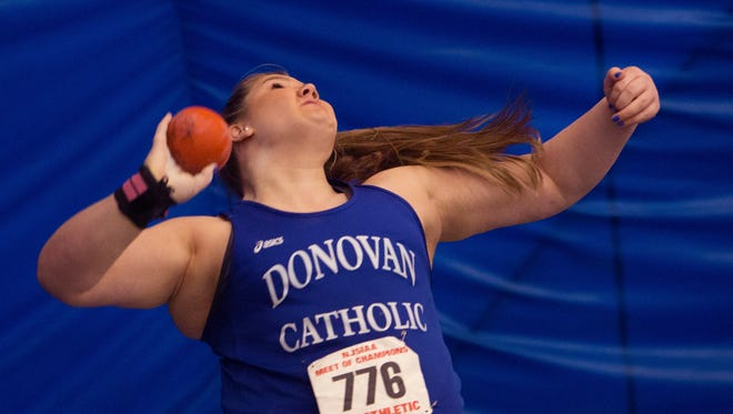 Donovan Catholic's Alyysa Wilson took first in Girls Shot Put at NJSIAA Girls Track Meet of Champion at Bennett Complex in Toms River on February 25, 2017.