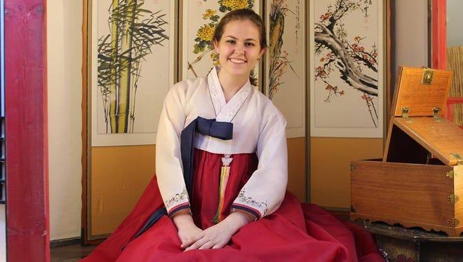 FSU senior Annalise Lynch in Korean traditional wear.