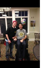Pat Quinn, left, with friend Pete Frates. Frates, a former Boston College baseball captain, also has ALS.