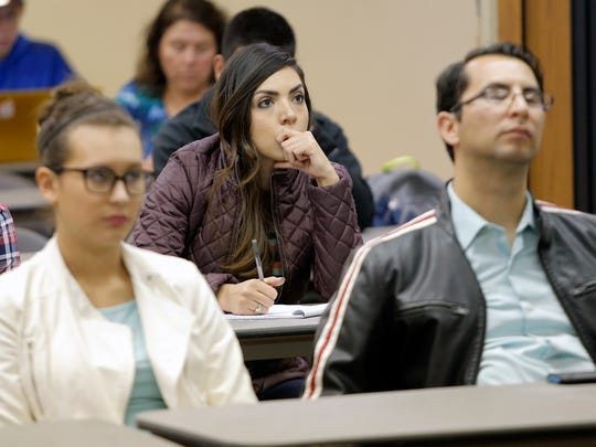 UTEP students attend a forum Wednesday at the Student Union during which a possible tuition increase was discussed.