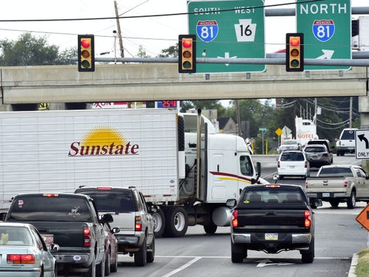 Traffic often backs up at the intersection of Buchanan Trail East and John Wayne Drive, Greencastle. Trucks can  get caught in the intersection like the one pictured on Thursday.