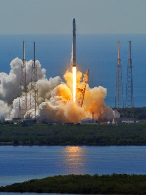 A SpaceX Falcon 9 rocket broke up after launch with