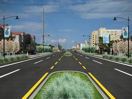 This is an artist's concept for State Road A1A revitalization. State Road A1A corridor improvements are part of the Space Coast Transportation Planning Organization priority list.