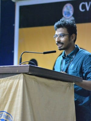 Engineering student Sai Shouri gives a speech at his college, CVR College of Engineering in Hyderabad, India in July of 2016.