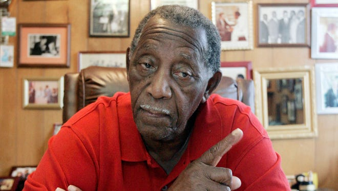Charles Evers, brother of slain civil rights leader Medgar Evers, talks to The Associated Press in his Jackson, Miss., radio station office on July 31, 2008.