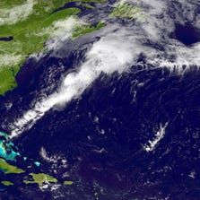 UNITED STATES - AUGUST 6: In this handout provided by the National Oceanic and Atmospheric Administration (NOAA) from the GOES-East satellite, a weather system travels north and east in the Atlantic Ocean off the coast of the United States pictured at 17:45 UTC August 6, 2014. The storm named Bertha, the second hurricane of the 2014 Atlantic hurricane season, is now expected to grow in size before becoming a post-tropical cyclone with winds of up to 73mph, possibly reaching Ireland on August 9.  (Photo by NOAA via Getty Images)