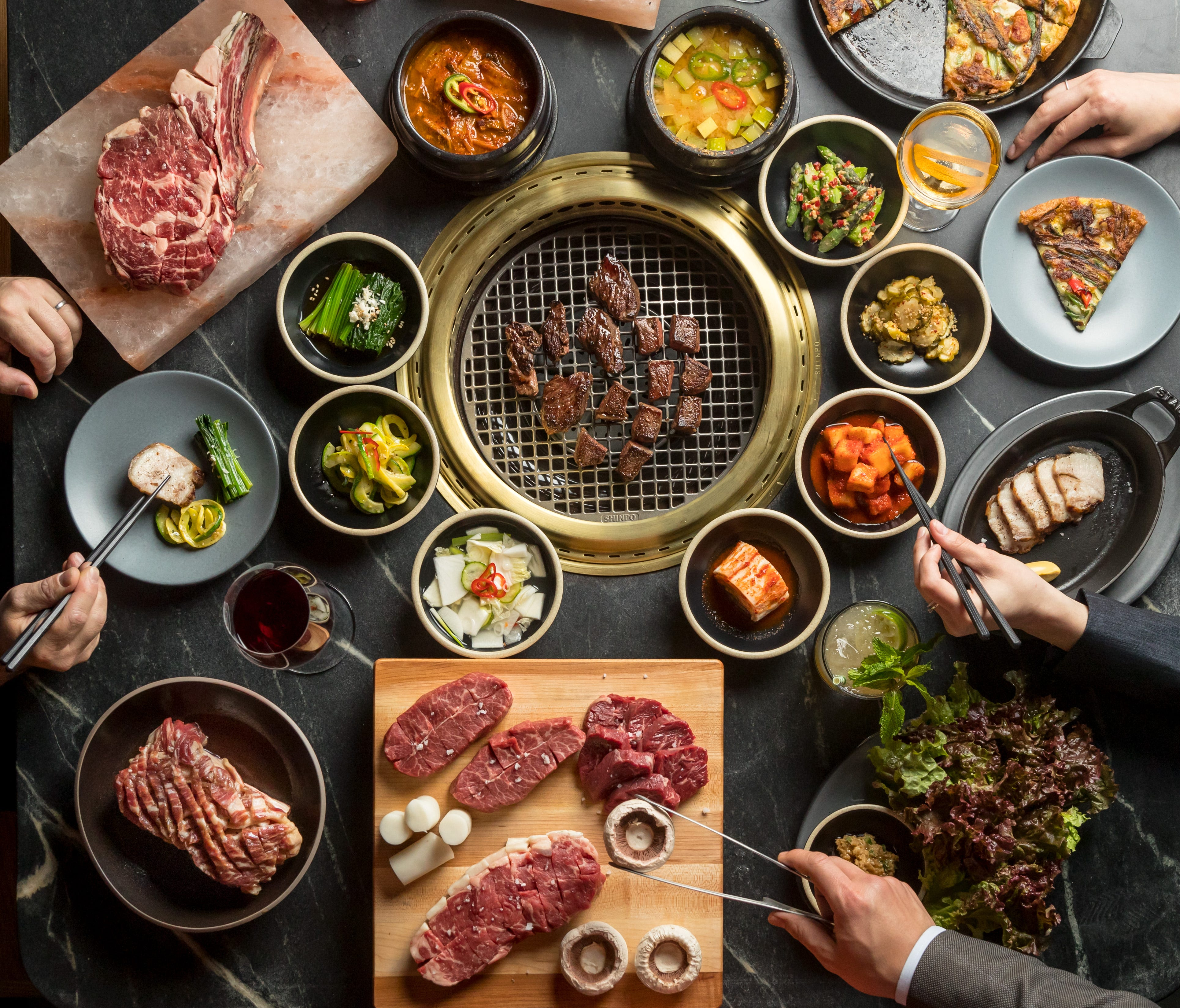 The main signature option at Cote is the prix fixe Butcher's Feast, four courses of USDA Prime beef, all cooked at the table, with a slew of appetizers, side dishes and dessert.