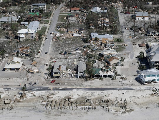 Homes destroyed by Hurricane Michael are shown in this aerial photo on October 11, 2018, in Mexico Beach, Florida.
