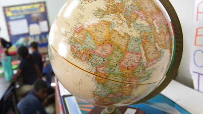 A globe in a classroom at Multicultural Academy in Pittsfield township on Wednesday, Nov. 13, 2013.