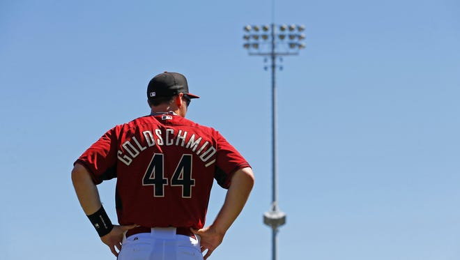 Arizona Diamondbacks first baseman Paul Goldschmidt looks on during a spring training a game on March 16, 2015, at Salt River Fields at Talking Stick.