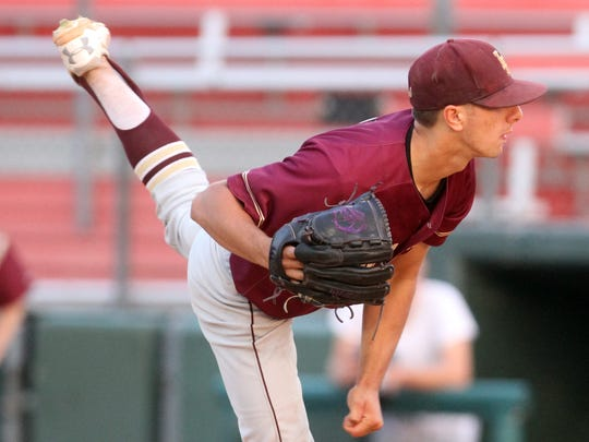Iona Prep pitcher Anthony Piccolino took the loss as Msgr. Farrell defeated Iona Prep 3-1 in the CHSAA championship game at St. John's University in Queens June 10, 2017.