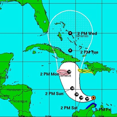 The location and forecast track of Hurricane Matthew