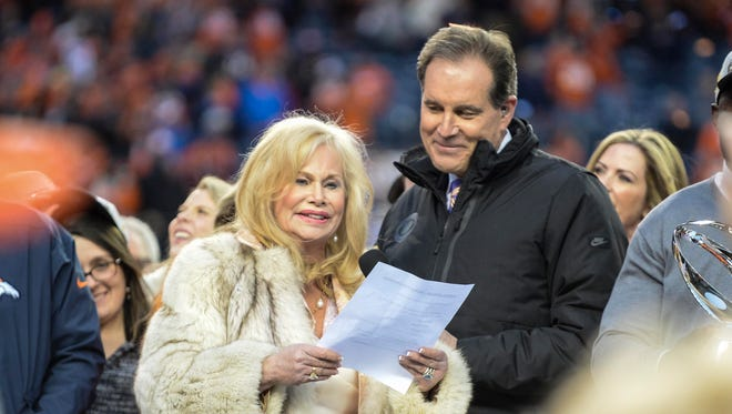 Annabel Bowlen, wife of Broncos owner Pat Bowlen, reads a statement after the team won the AFC Championship Game.
