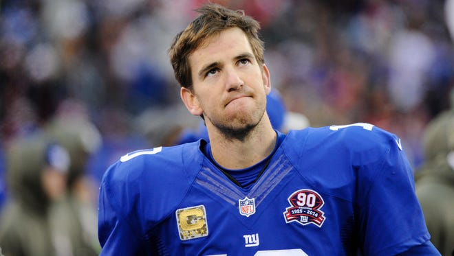 Giants quarterback Eli Manning reacts during the second half against San Francisco on Sunday, in East Rutherford, N.J. Manning threw five interceptions, and the 49ers won 16-10.