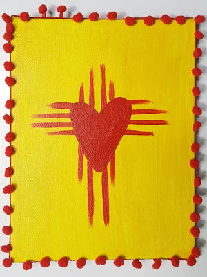 For The Love of New Mexico, acrylic, by artist Rachel Courtney. Courtney's piece will be shown at the El Paso Electric Gallery in the Rio Grande Theatre during For the Love of Art Month in February.