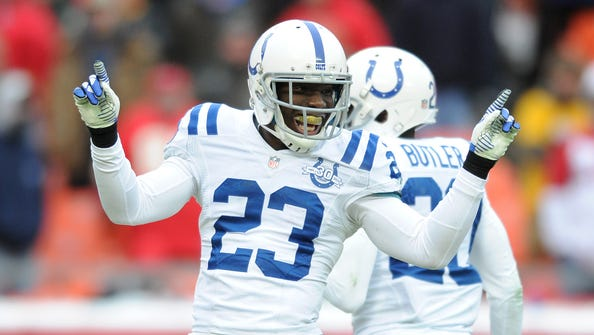 Indianapolis Colts corner back Vontae Davis celebrates breaking up a pass against the Kansas City Chiefs during the second half, Sunday, December 22, 2013, at Arrowhead Stadium.