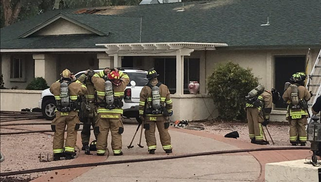Fire crews responded to a fire Sunday morning where they treated four victims