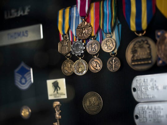 Some of William Thomas's medals and ribbons awarded for his service in the Air Force.