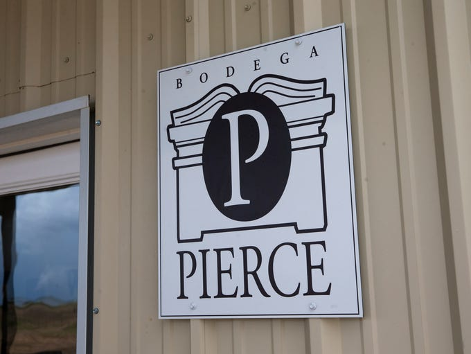 A sign outside the Bodega Pierce winery tasting room