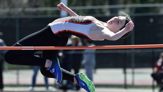 Kaia Paulsen of Pascack Hills competes in the girls high jump at the 57th annual Jack Yockers Bergen County Relays at River Dell High School 4/21/2018