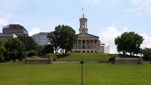 NASHVILLE - MAY 25:  Tennessee State Capitol Building, as photographed from The Rivers Of Tennessee Fountain grounds at Bicentennial Capitol Mall State Park in Nashville, Tennessee on May 25, 2016.  (Photo By Raymond Boyd/Getty Images)
