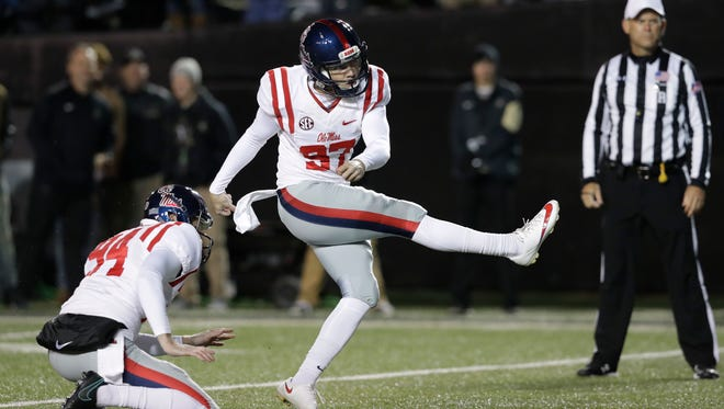 Ole Miss kicker Gary Wunderlich made 22 of his 23 field goals in 2016.