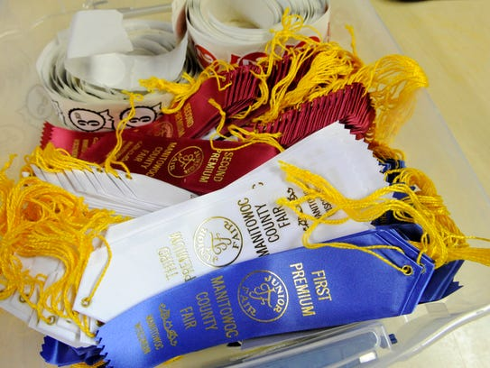 Ribbons await children's 4-H projects at the Manitowoc