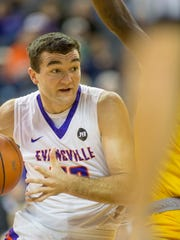 University of Evansville's Blake Simmons (50) drives