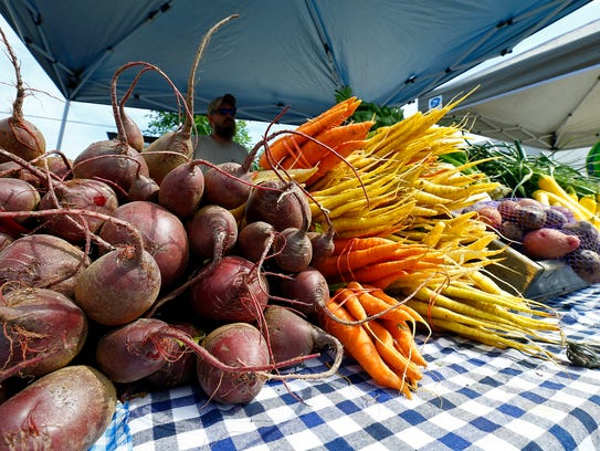 Various vegetables from Arrowhead Farms are seen at