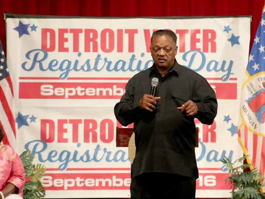 Rev. Jesse Jackson talks with the 560 members of the Class of 2017 at Cass Tech High School in Detroit on Wednesday, September 7, 2016 about the importance of registering to vote if they are of age to do so.