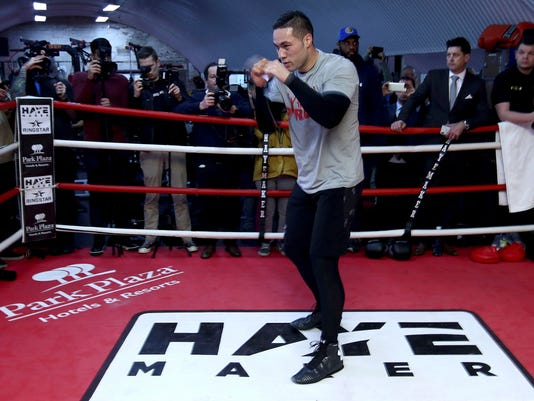 New Zealand's heavyweight boxer Joseph Parker during the training session at the Hayemaker Gym in Vauxhall, London Friday March 23, 2018. Parker will fight Britain's World Heavyweight boxing champion Anthony Joshua in a title  bout in Cardiff next week.  (John Walton/PA via AP)