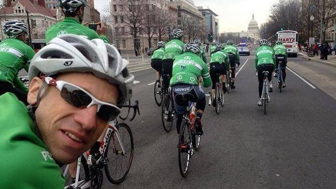 Connecticut lawyer Monte Frank, who started the Sandy Hook Ride on Washington, turns to the camera as a fellow rider snaps their four-day ride's arrival last year at the U.S. Capitol. The ride is coming to Delaware.
