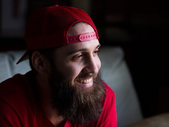 "Brice Foutch smiles during an interview in Kathy Good's home in Granite Falls, North Carolina on Friday, Dec. 2, 2016. ""I'm looking forward to her coming to St. Louis and meeting my dad's side of the family and meeting the Florida family,"" said Foutch when asked about his future with Good."
