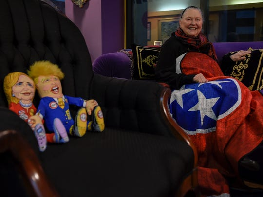 Tennessee State Museum Executive Director Lois Riggins-Ezzell sits in her office among dolls that she is donating to the museum Tuesday, Nov. 15, 2016, in Nashville.