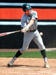 Mike Stanczak takes a cut in Saturday's GMCT baseball