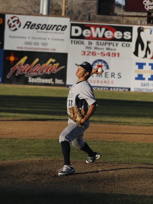 Tyler Mead pitches against Farmington on Saturday at Ricketts Park.