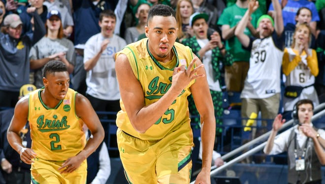 Feb 26, 2017; South Bend, IN, USA; Notre Dame Fighting Irish forward Bonzie Colson (35) celebrates after a basket in the first half against the Georgia Tech Yellow Jackets at the Purcell Pavilion. Mandatory Credit: Matt Cashore-USA TODAY Sports